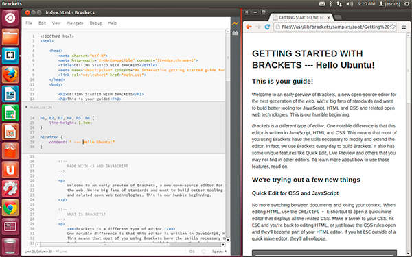 Brackets Coding Editor